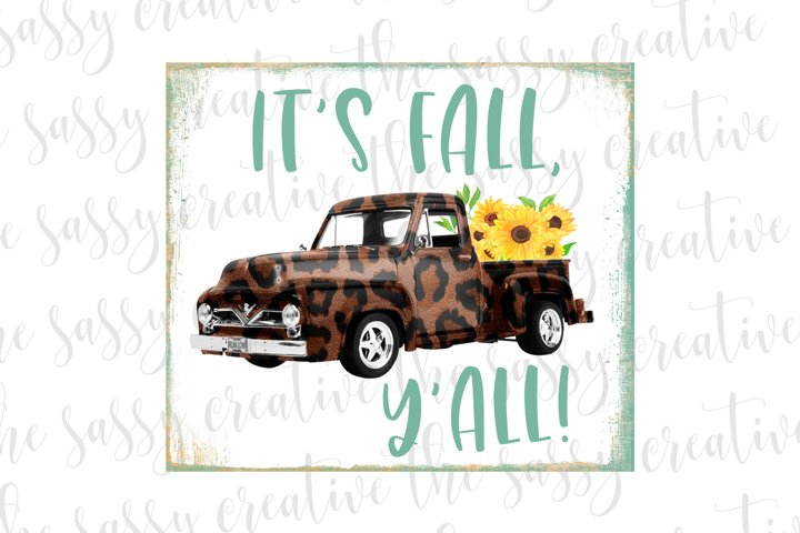 Fall Vintage Truck PNG File Sublimation Download