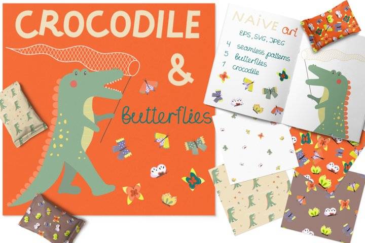 Funny crocodile catching colorful butterflies in naive style