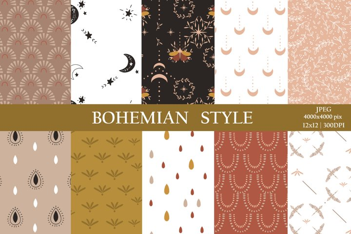 Bohemial digital paper / Boho rainbow seamless pattern