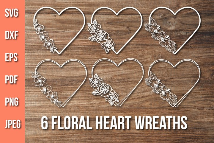 Floral Heart Wreath Svg, Flower Wreath Monogram, Heart Frame