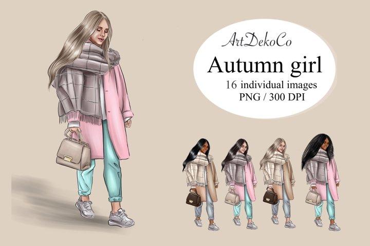 Autumn girl clipart, Denim girl clipart, Fashion clipart, Fa