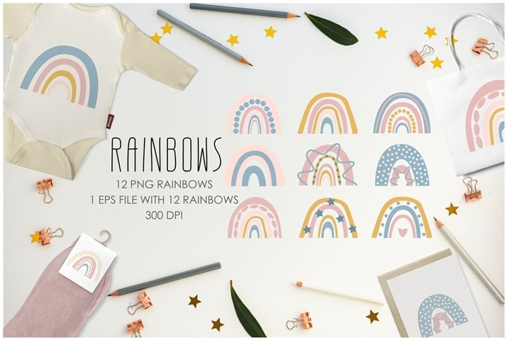 Vector rainbows clipart set