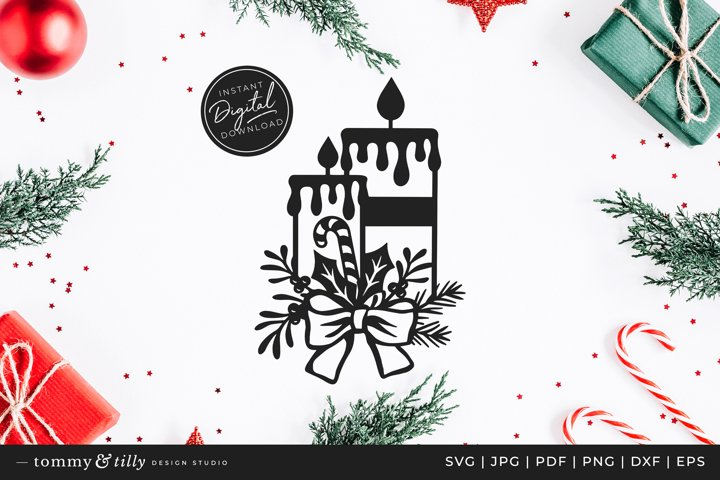 Christmas Candles - SVG DXF PNG EPS JPG PDF Paper Cutting
