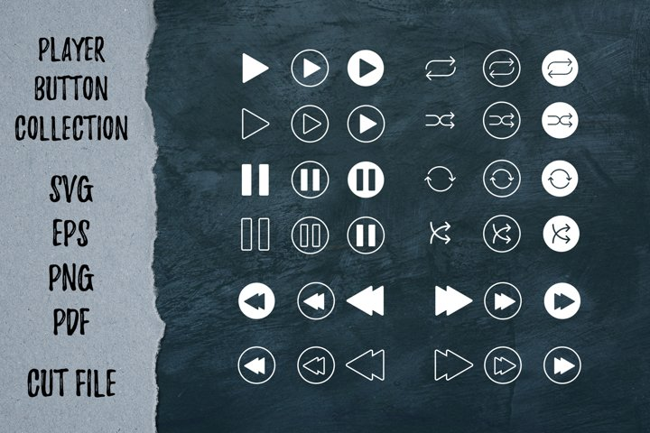 Player button collection | Cutting files | Playlist svg