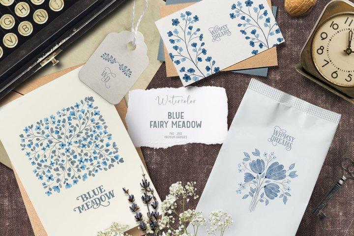 Watercolor floral clipart | Blue flower clipart