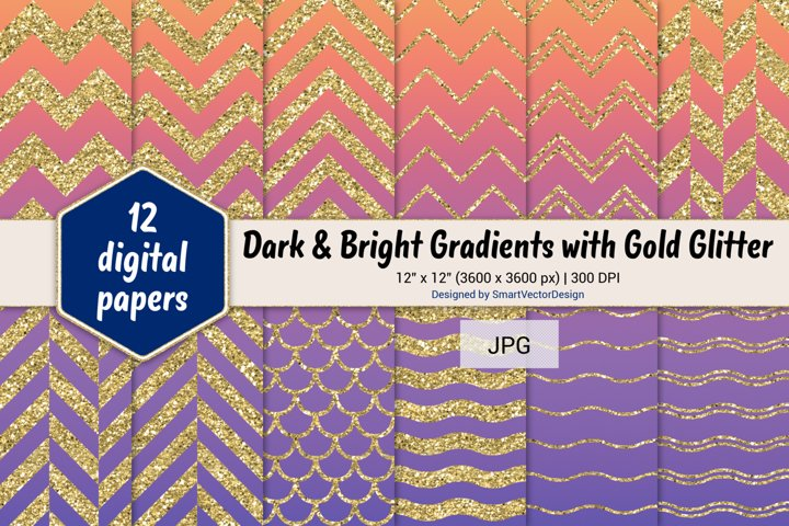 Chevron, Scales, & Waves - Gradients with Gold Glitter #57