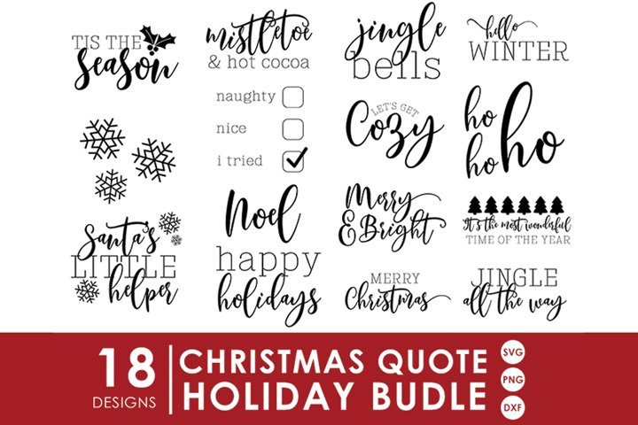 Christmas SVG Bundle | 18 Holiday Cut Files