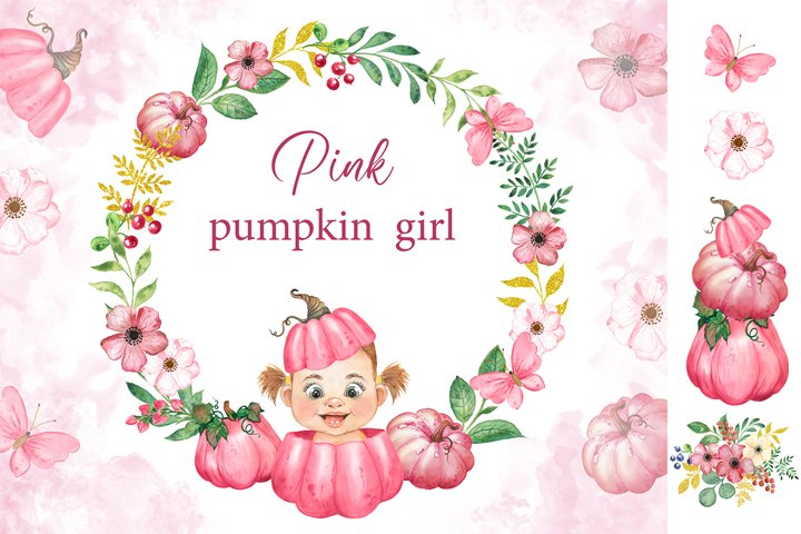 Pink pumpkin Watercolor clipart. Baby shower birthday card
