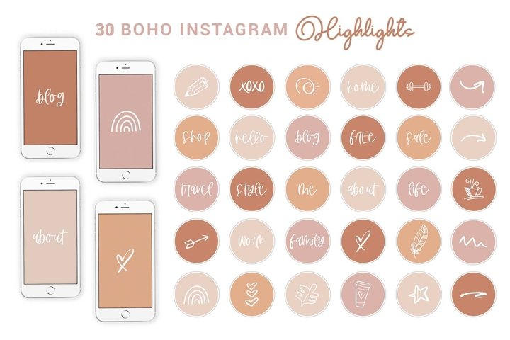 Boho Instagram Highlights Text & Shape   Story Cover Icons