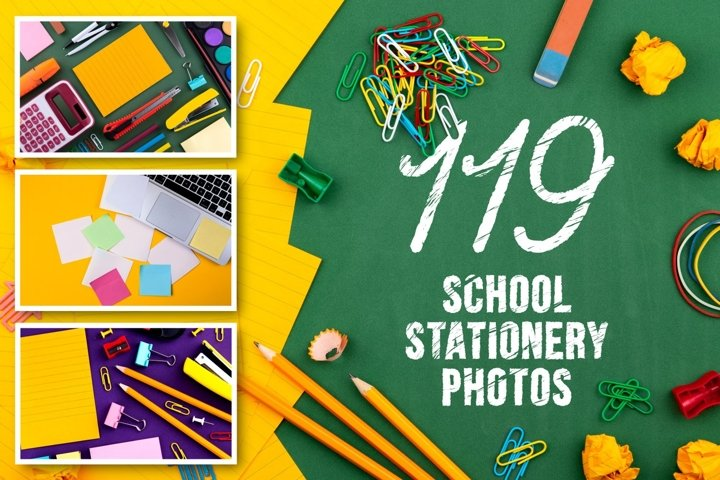 Set of 119 school stationery photos