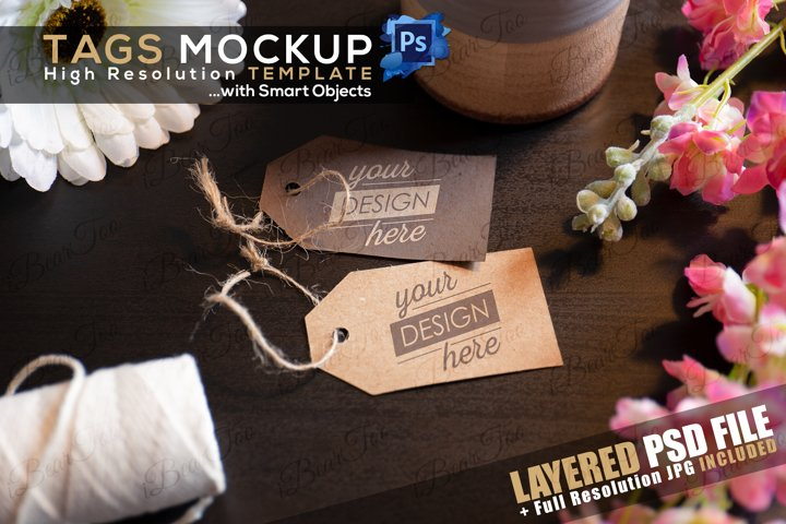 Tags Label Mockup Template with Smart Object on Wood Flowers