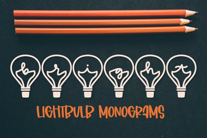 Lightbulb Monogram - A-Z Letters