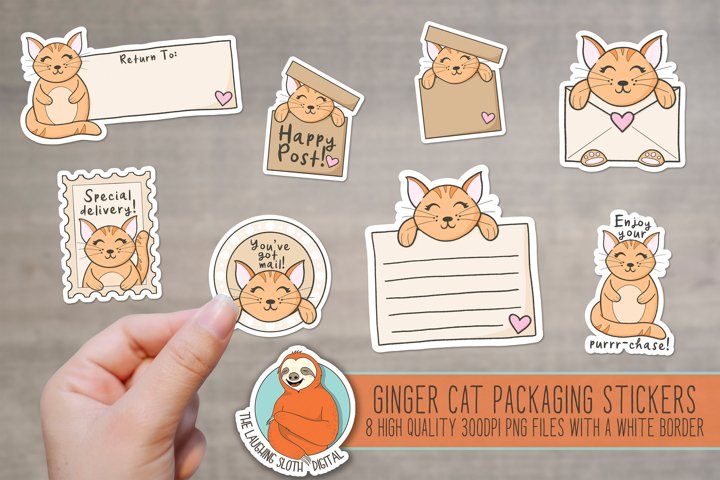Cute Ginger Cat Packaging Stickers