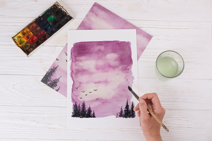 Watercolor Clipart,Landscape with Sky
