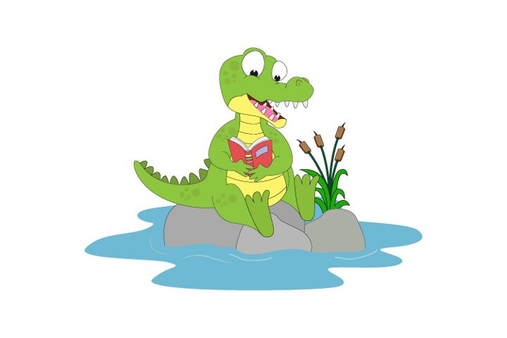 cute Alligator reading a book, simple vector illustration