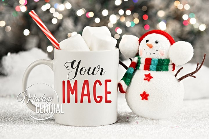 Winter Coffee Glass Mug Mock Up, JPG Hot Cocoa Cup Mockup