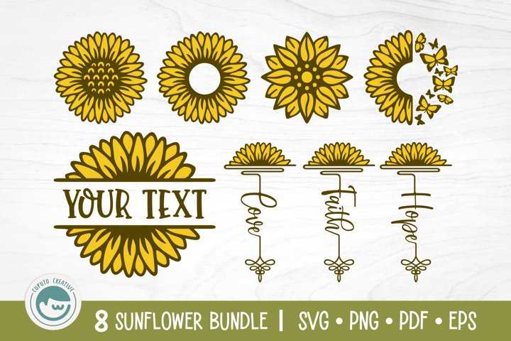 Sunflower SVG Bundle | Split and Monogram Frame