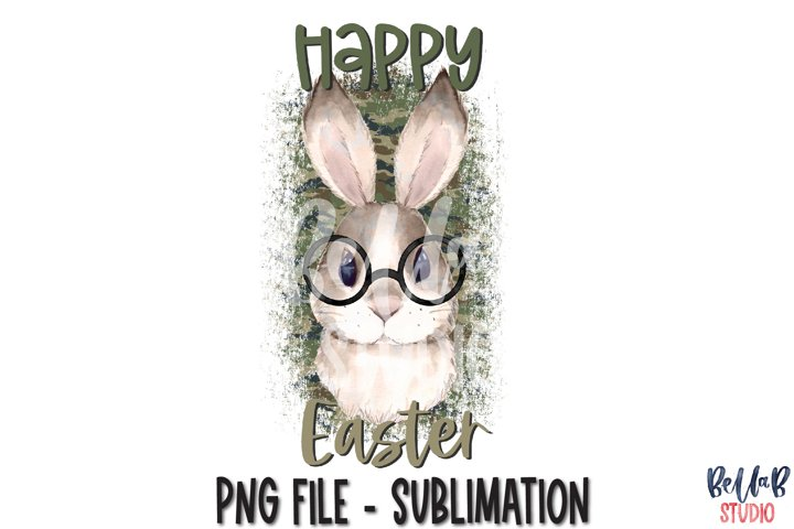 Happy Easter Sublimation Design, Camo Bunny with Glasses