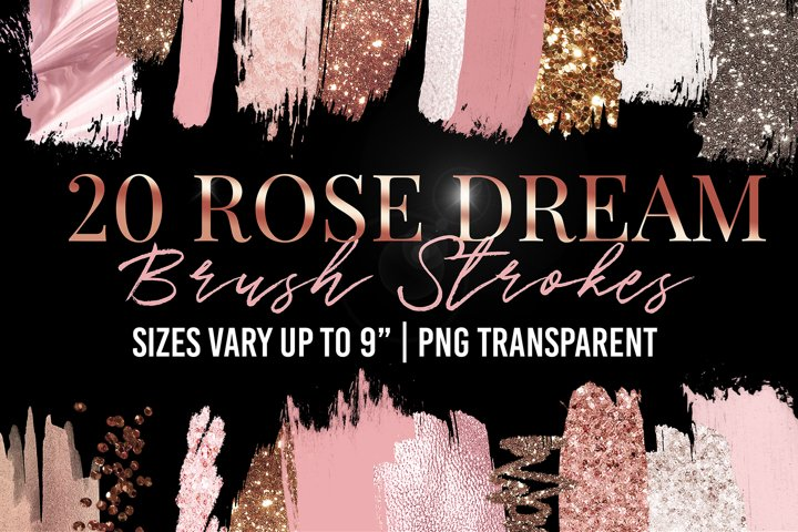Rose Gold & Pink Brush Strokes