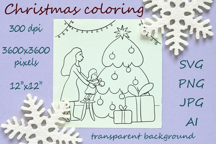 Christmas coloring SVG - mother and daughter