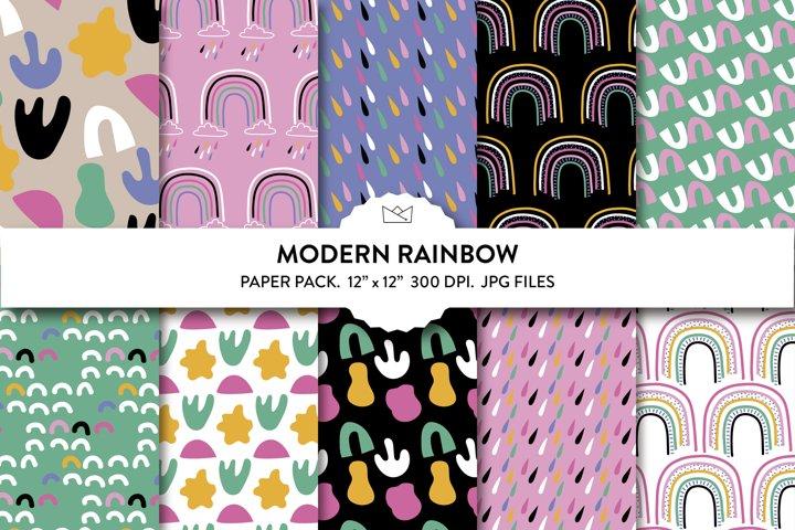 Modern rainbow digital paper, modern wrapping paper, rainbow