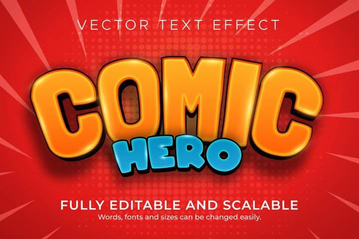 Comic text effect, cartoon editable text style