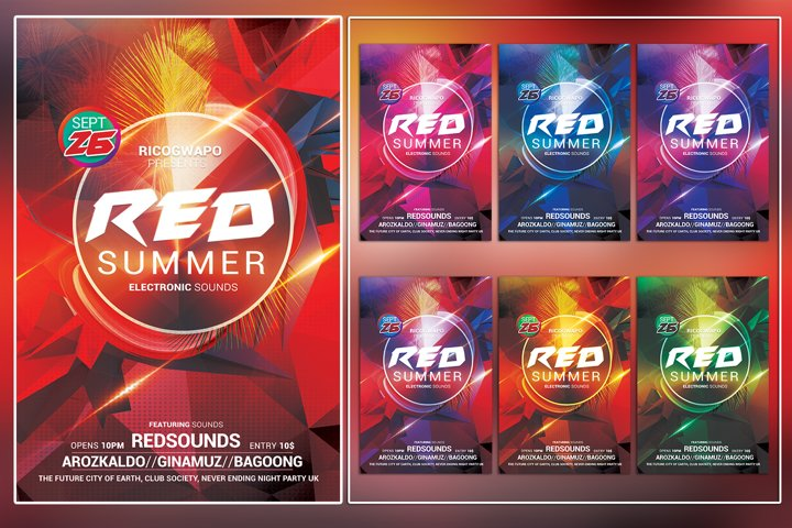 Red Summer Photoshop Flyer Template