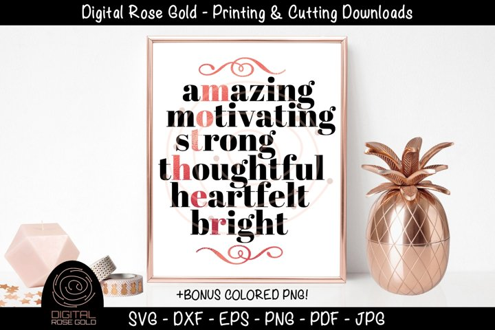 Mother Acronym - Mothers Day SVG, Mom Mama SVG Gift Quote