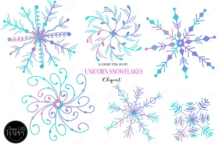 Snowflake Clipart, Unicorn Colors