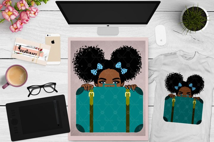 Afro Girl, Travel, Suitcase, Luggage, Travel Bag SVG File
