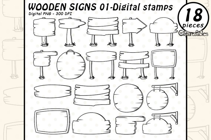 WOODEN SIGNS- DIGITAL STAMPS, Wooden boards, Cute signs