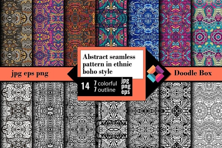 Abstract seamless pattern in ethnic boho style