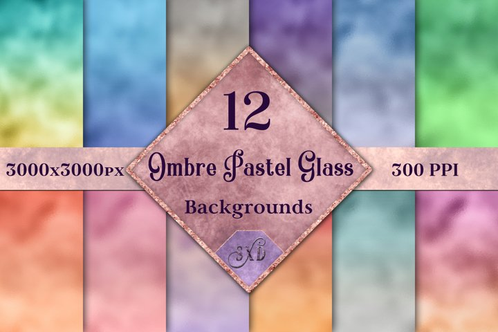 Ombre Pastel Glass Backgrounds - 12 Image Textures Set