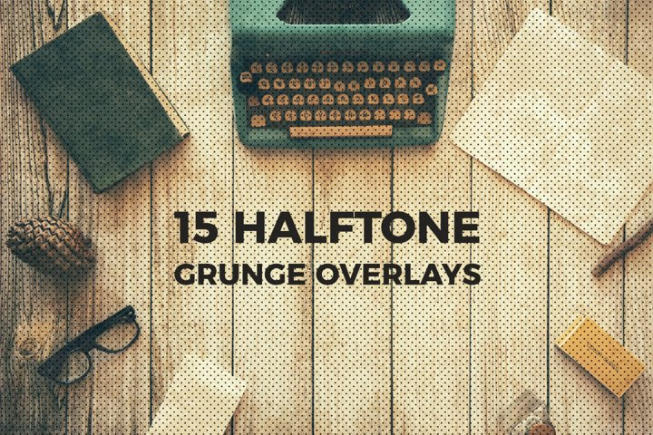 Halftone and Grunge Overlays example