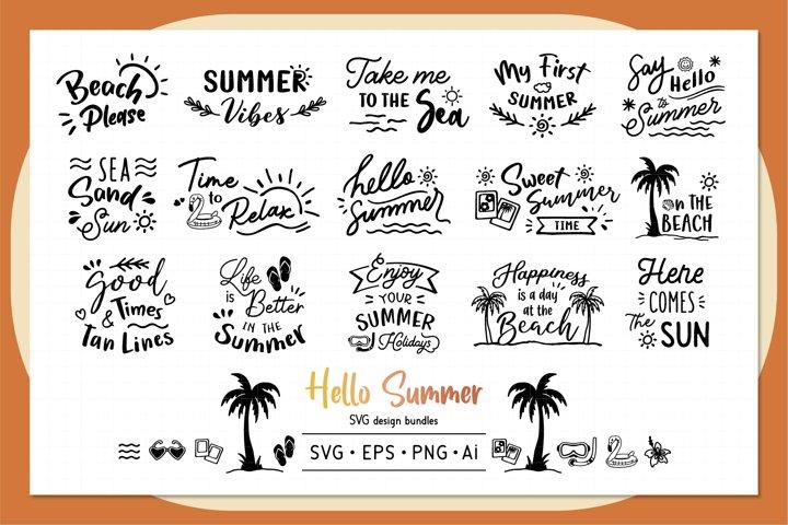 Hello Summer SVG design bundles