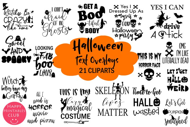 Halloween Text Overlays Clipart- Halloween Word Art Graphics
