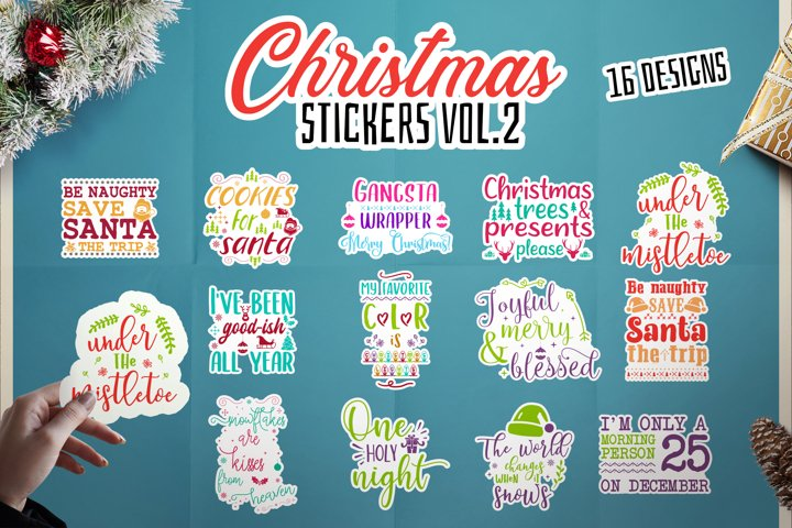 Christmas Stickers SVG Bundle, Print and Cut Label DXF Vol.2