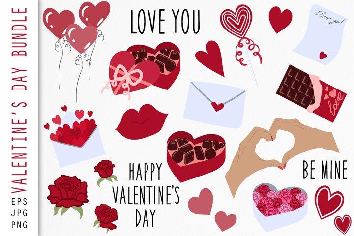Valentines Day Bundle. Set of vector illustrations.