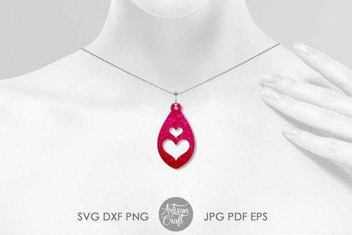 Tear drop earrings SVG, valentines jewelry, heart earrings example 2