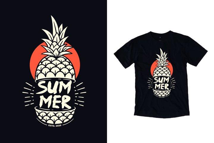 Summer pineapple illustration t shirt design