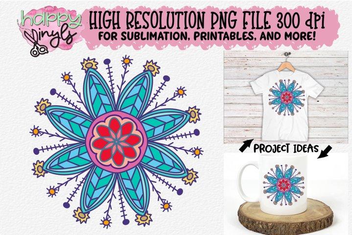Mandala Teal Flower Sublimation Design - A High Res PNG File