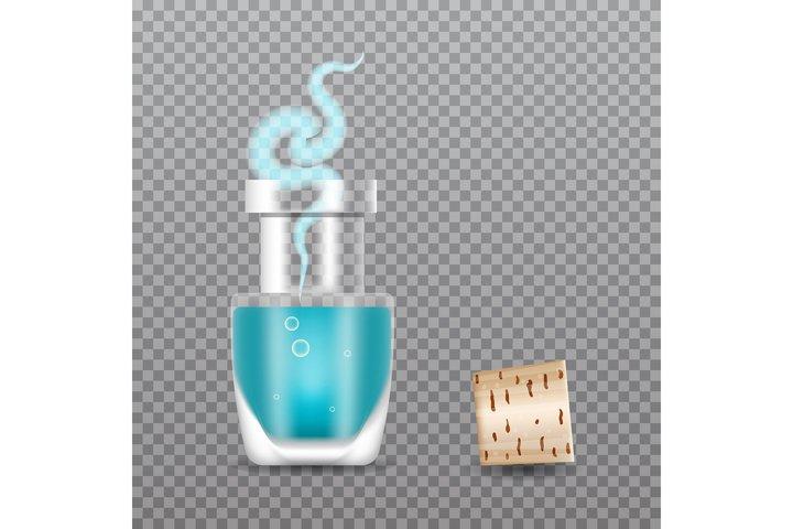 Realistic Chemistry glass bottles of potion. Love potion.