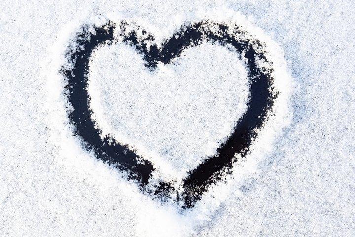 heart texture snow car