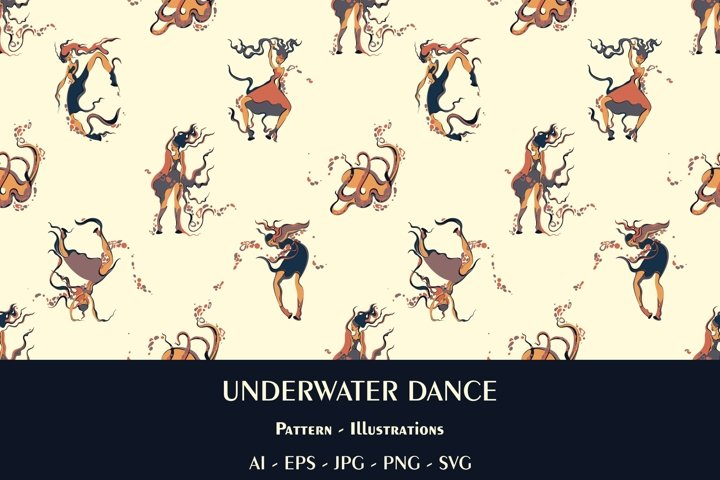 Underwater Dance Seamless Pattern and Posters