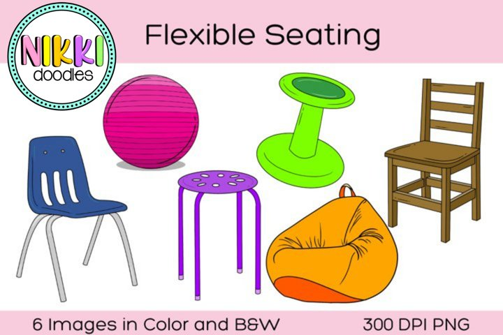 Flexible Seating Clip Art Digital Stickers, Furniture, Chair