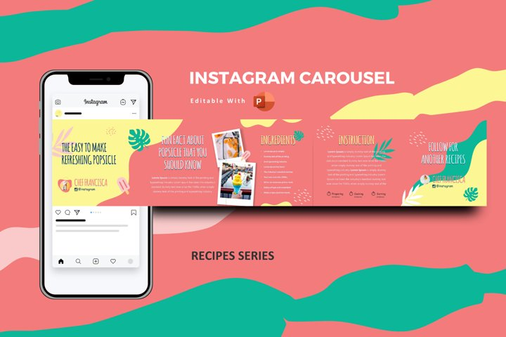 Cocktail recipes instagram carousel template powerpoint