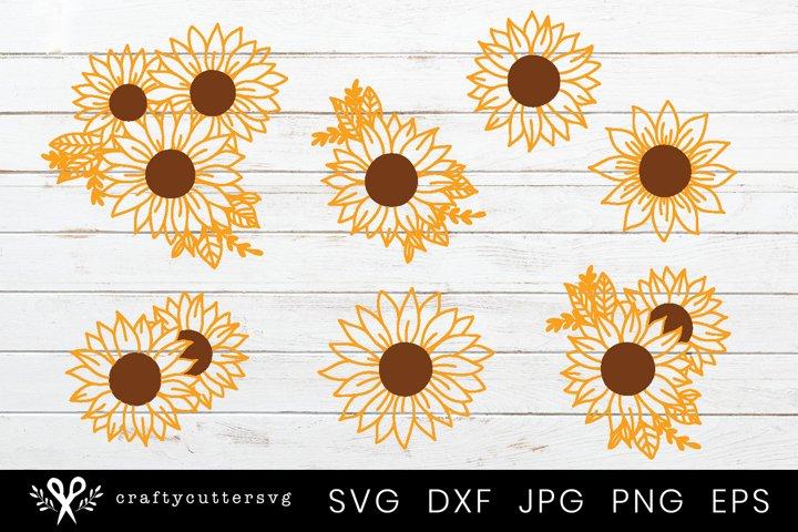 Sunflower Svg Bundle | 7 Sunflower Designs Cut File Cricut