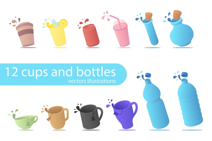12 cups and bottles in vector