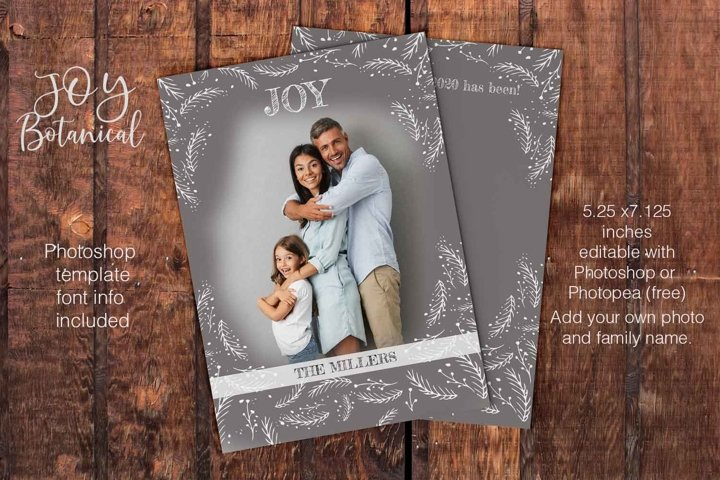 Photoshop Christmas card template Joy botanical