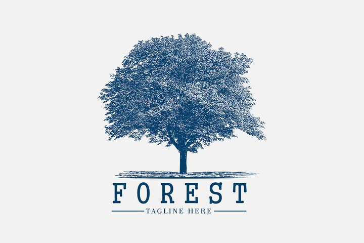Awesome vintage logo for forest tree